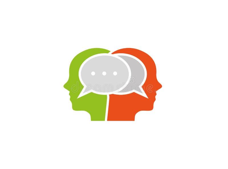 Lle teste di due uomini che chiacchierano per il logo illustrazione di stock
