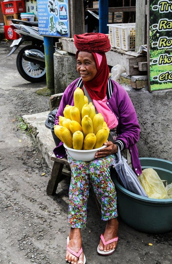 Lle vendere della via che vendono pannocchia di granturco bollita in Bedugul, Bali immagini stock libere da diritti