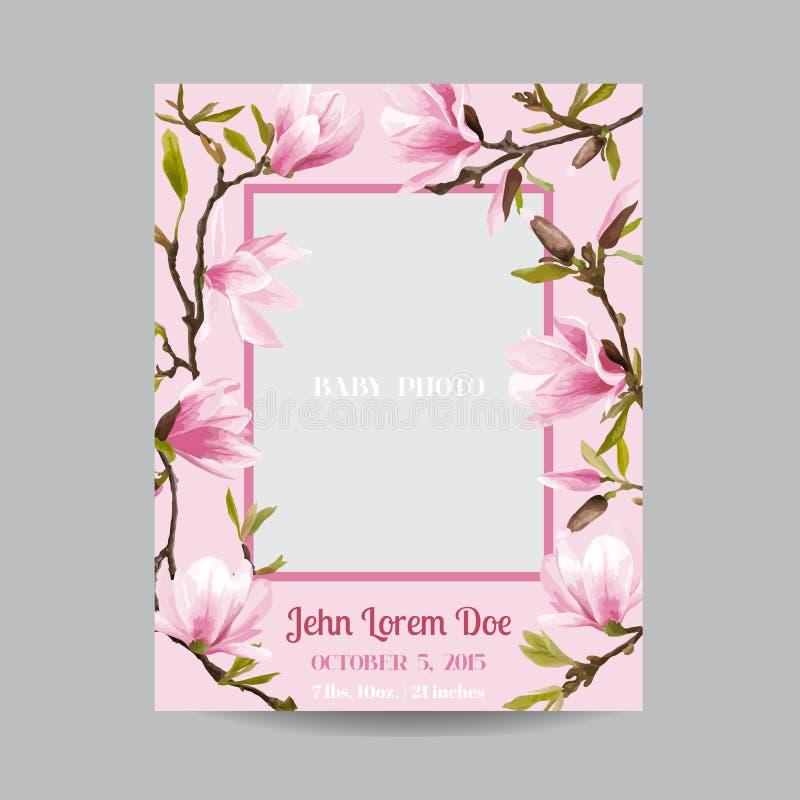 Llegada del bebé o tarjeta de la ducha - con el marco y la magnolia de la foto imagen de archivo