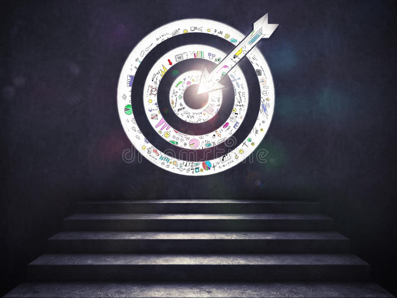 Llegue una meta del éxito las escaleras hasta una blanco representación 3d fotografía de archivo libre de regalías