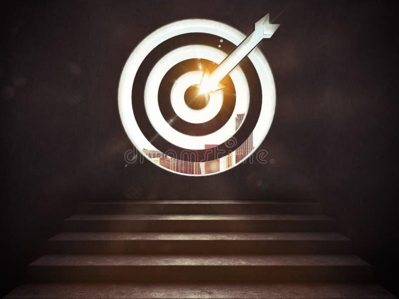 Llegue una meta del éxito las escaleras hasta una blanco representación 3d ilustración del vector