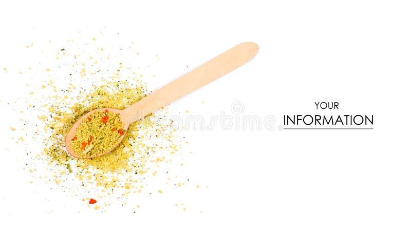 Llene el condimento para la sopa con el modelo de madera de la cuchara de las verduras imágenes de archivo libres de regalías