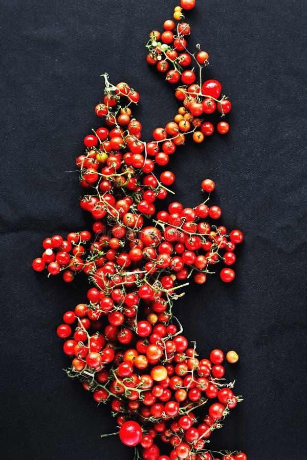 Llene la opinión superior del pequeño de cereza fondo negro de los tomates fotos de archivo libres de regalías