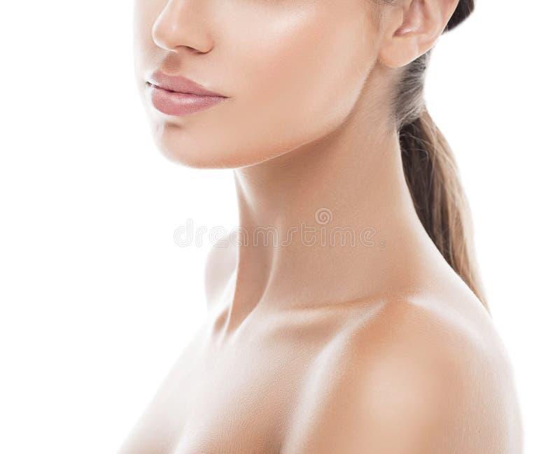 Lleva a hombros el retrato de la belleza de la mujer de los labios del cuello Aislado en blanco imágenes de archivo libres de regalías