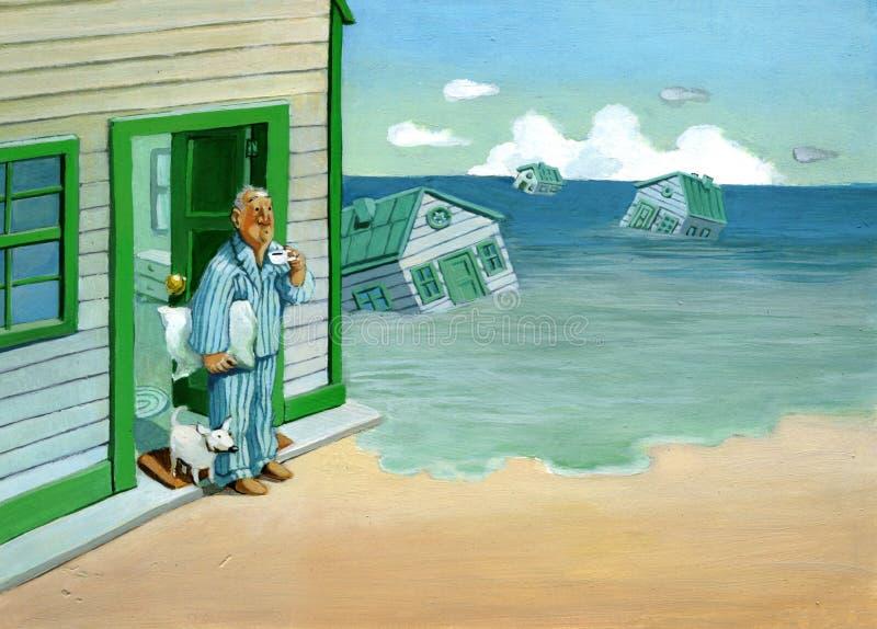 Llevado por la marea ilustración del vector