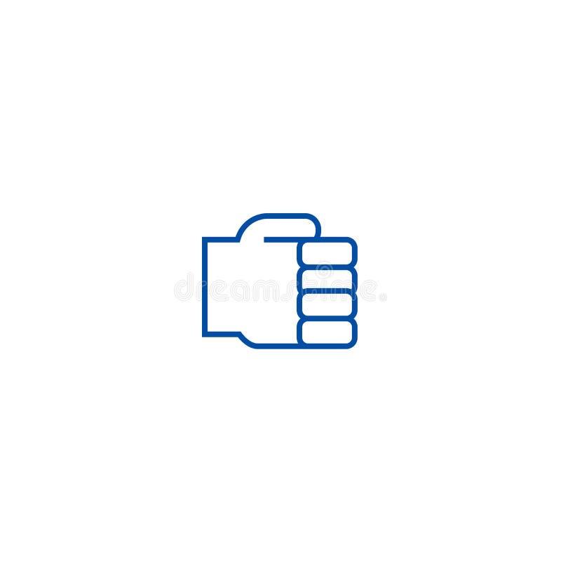 Llevando a cabo la línea de mano concepto del icono Llevar a cabo símbolo plano del vector de la mano, muestra, ejemplo del esque stock de ilustración