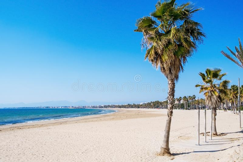 Llevant Beach in Salou, Spain, on a winter day royalty free stock image