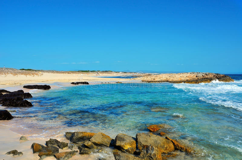 Llevant Beaches in Formentera, Balearic Islands, Spain. View of Llevant Beaches in Formentera, Balearic Islands, Spain stock photos