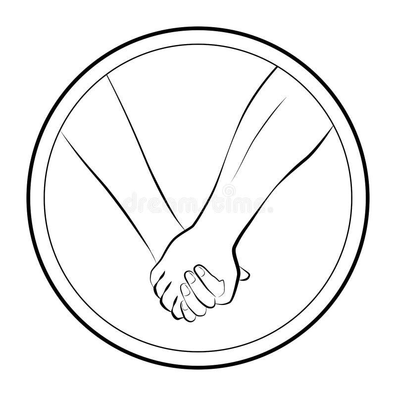 Llevar a cabo el logotipo redondo de los pares del amor de las manos ilustración del vector