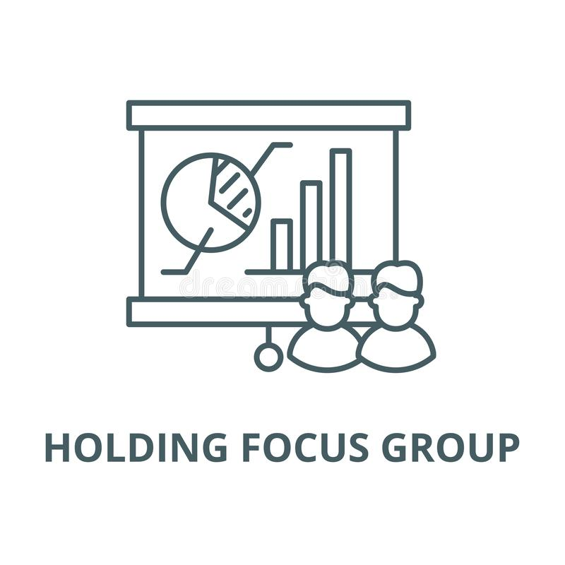 Llevar a cabo la línea icono del vector del grupo principal, concepto linear, muestra del esquema, símbolo stock de ilustración