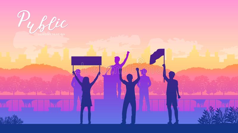 Llevar a un grupo de manifestantes libre illustration