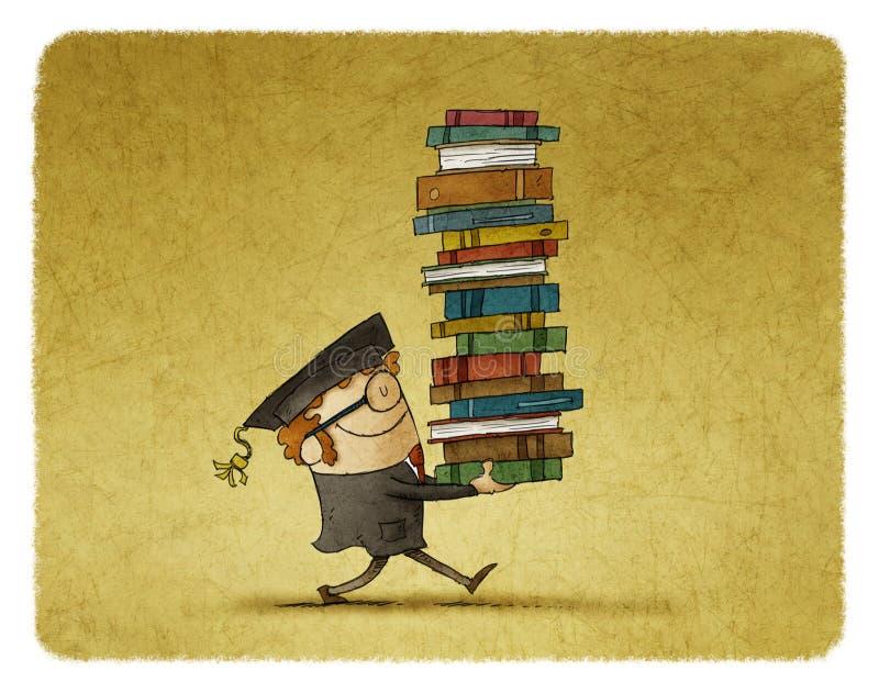 Llevar una pila de libros ilustración del vector