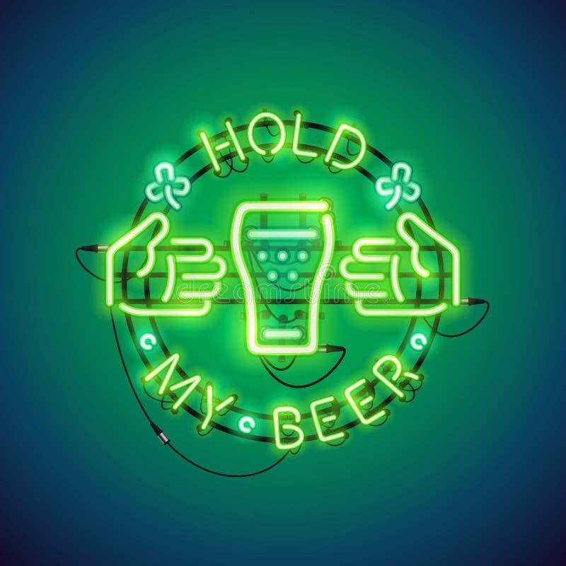 Lleve a cabo mi verde de la señal de neón de la cerveza ilustración del vector