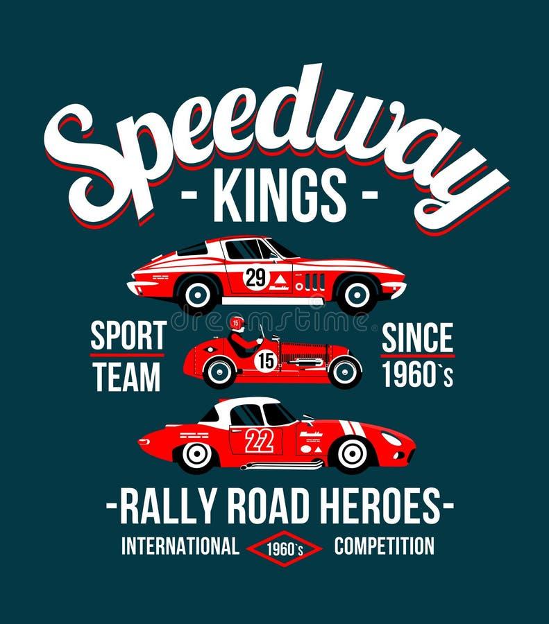 Lleve el coche rojo de la impresión en el ejemplo clásico de las camisetas del coche deportivo de la raza del anillo del circuito stock de ilustración