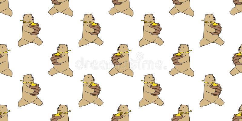 Lleve el fondo aislado miel inconsútil del papel pintado del funcionamiento del peluche del modelo del vector del oso polar stock de ilustración