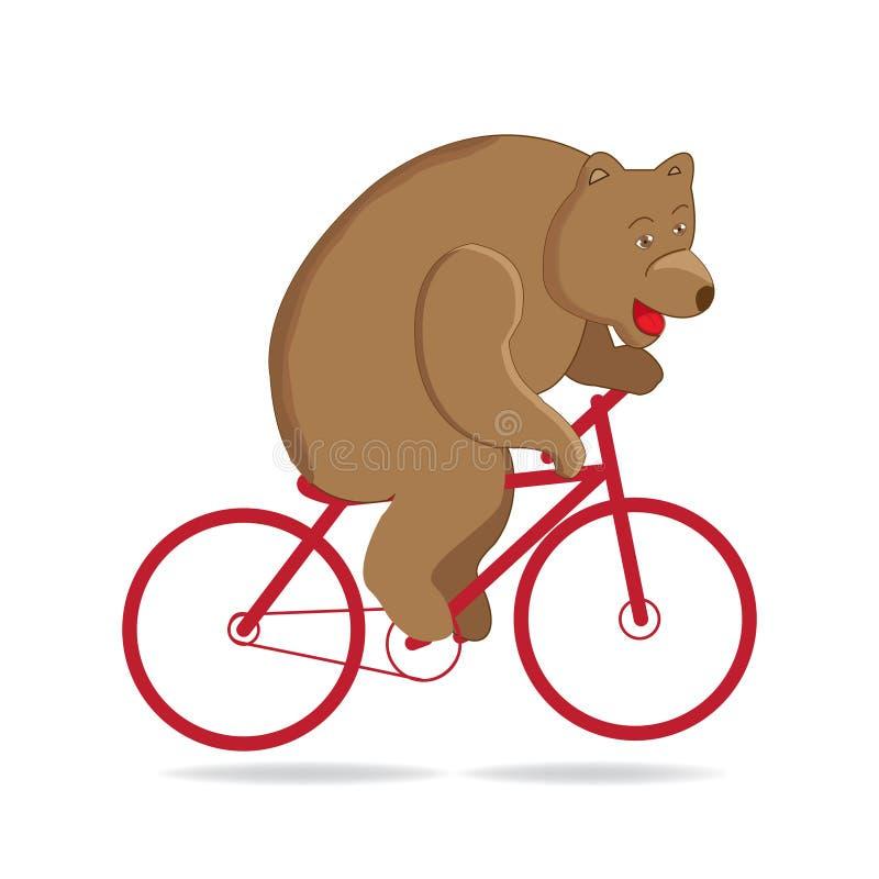 Lleve en el circo, paseos del oso del circo una bici roja libre illustration