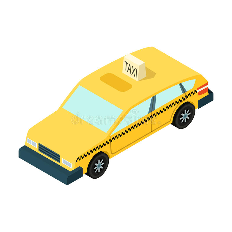 Lleve en taxi el icono del coche en estilo de la historieta aislado en el fondo blanco Ejemplo del vector de la acción del símbol stock de ilustración