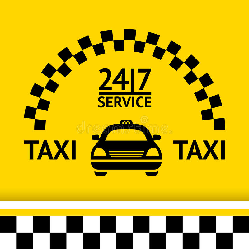 Lleve en taxi el símbolo, y el coche en el fondo stock de ilustración