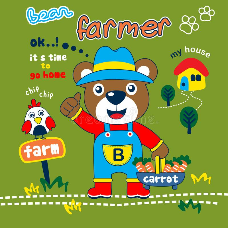 Lleve la historieta animal divertida del granjero, ejemplo del vector libre illustration