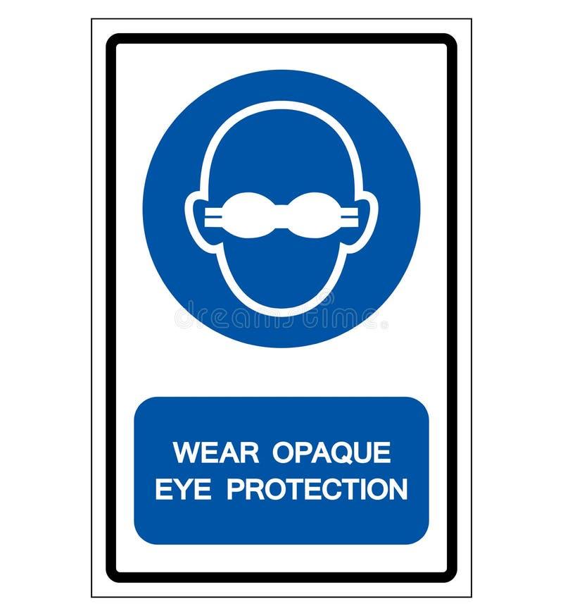 Lleve la muestra opaca del símbolo de la protección ocular, ejemplo del vector, aislado en la etiqueta blanca del fondo EPS10 ilustración del vector