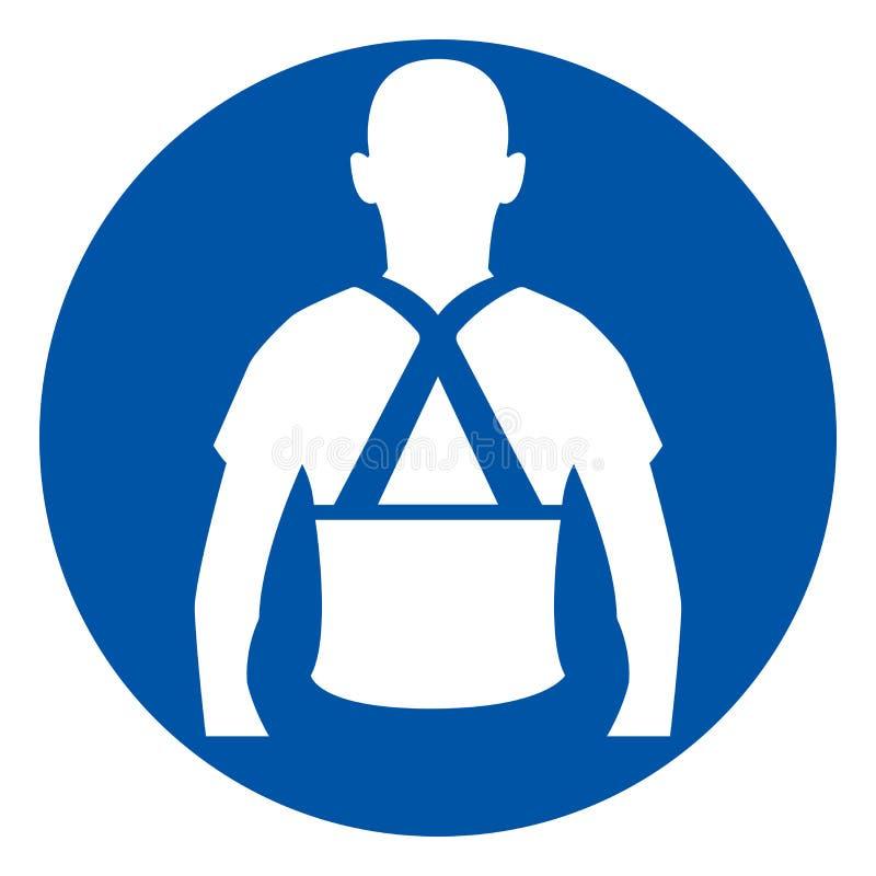 Lleve la muestra trasera del símbolo de la ayuda, ejemplo del vector, aislado en el icono blanco del fondo EPS10 stock de ilustración