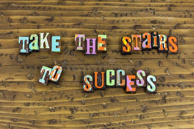 Lleve las escaleras la planificación de la carrera del éxito imagen de archivo