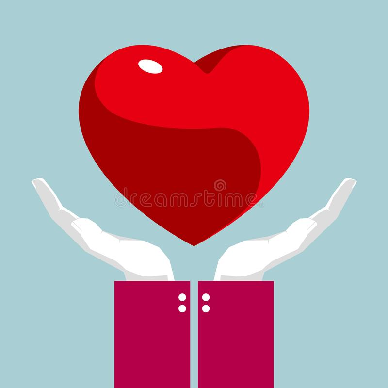 Lleve un símbolo del corazón en ambas manos ilustración del vector