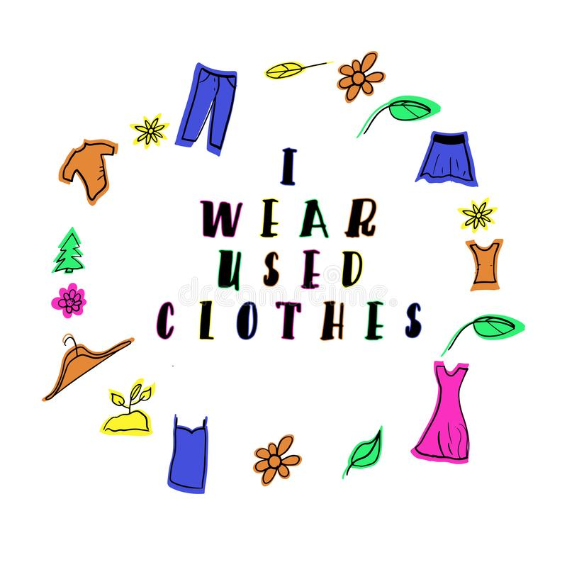 Llevo lema usado de la ropa stock de ilustración