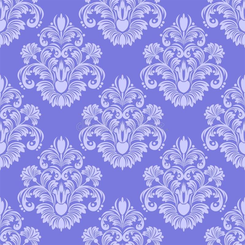 Llight blå sömlös damast tapet stock illustrationer