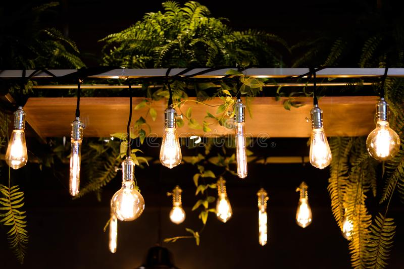 Llight bulbs - Image. Llight bulbs using in coffee shop, celebration Light bulbs, vintage Light bulbs - Image stock image