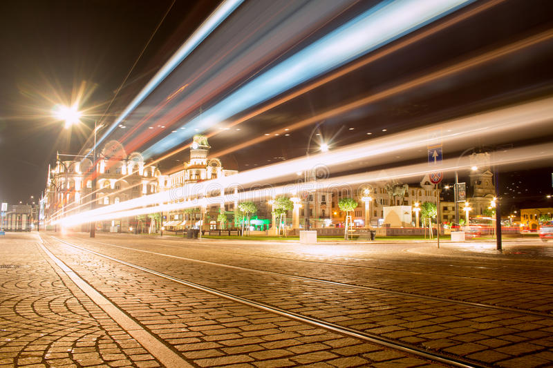 Llight Trails‬ W Oradea obraz royalty free
