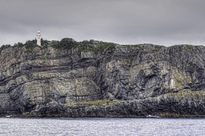 Llighthouse på klippan på fjärden för tjur` s, Newfoundland, Kanada royaltyfri foto