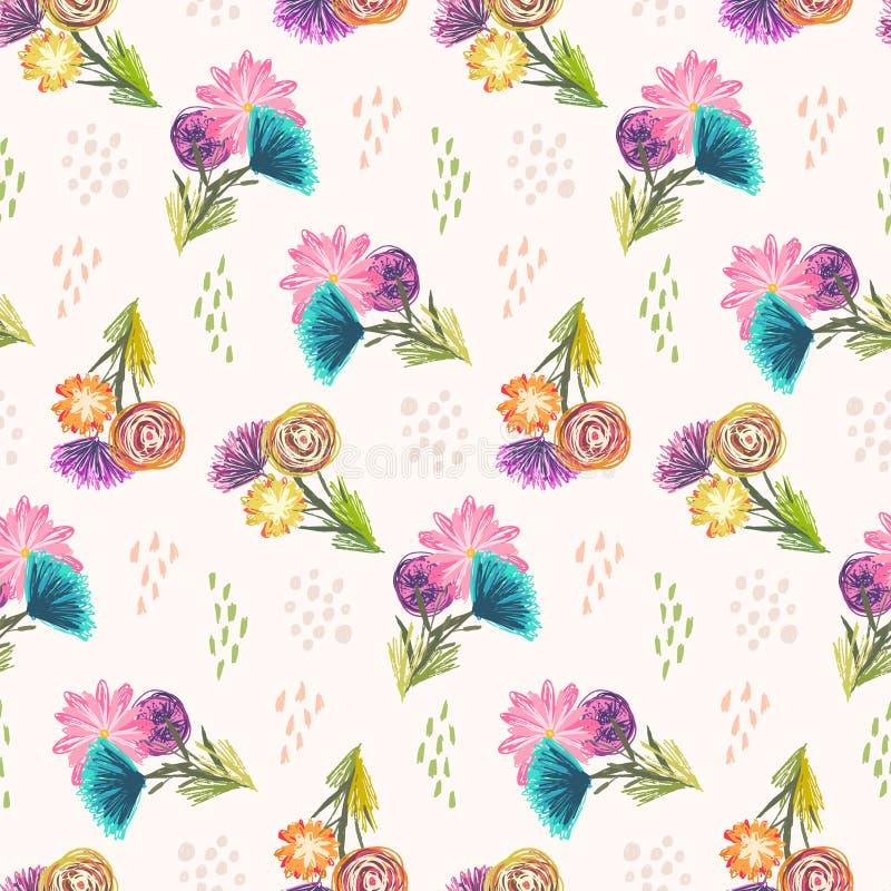 Llightpatroon met leuke schetsmatige bloemenboeketten royalty-vrije illustratie