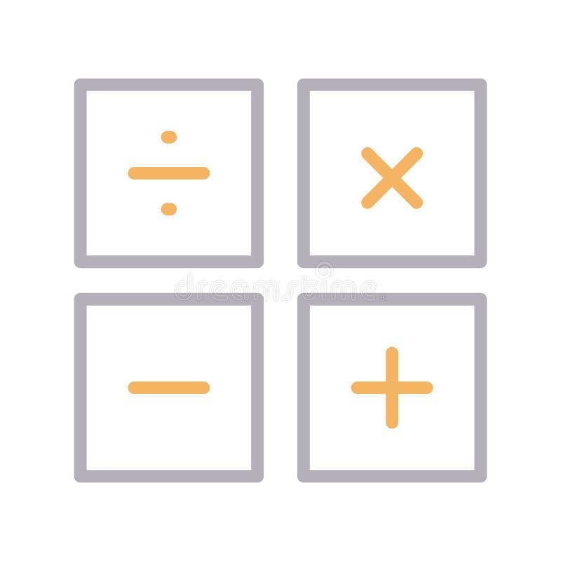 Lline vectorpictogram van de wiskunde dun kleur vector illustratie