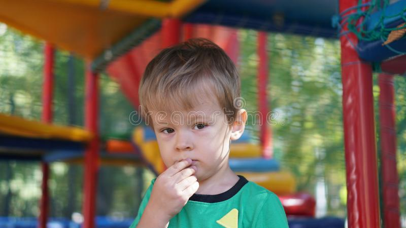 Llittle boy having fun and playing on playground at amusement park stock image