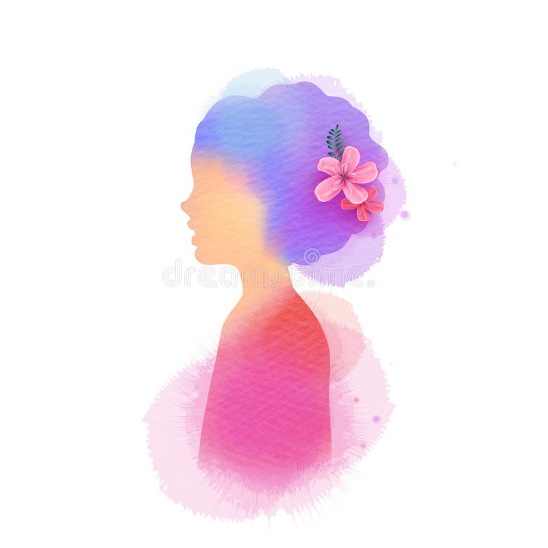Llittle girl silhouette plus abstract water color painted. Digital art painting. Vector illustration.  royalty free illustration