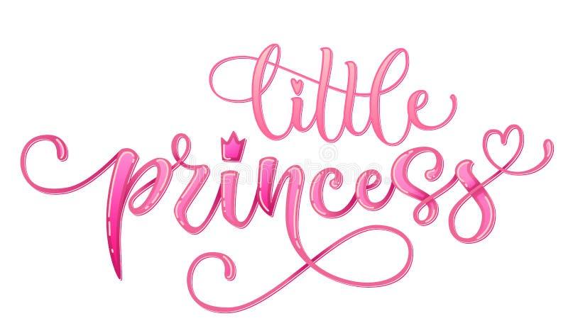 Llittle Prinzessinzitat Handgezogene moderne Kalligraphiebabyparty, die Logophrase beschriftet vektor abbildung