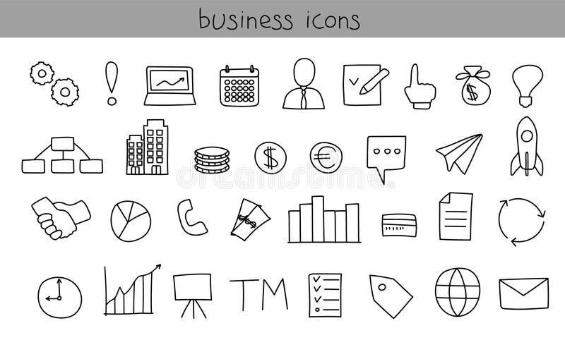 Llll dos ícones Ícones pretos simples do esboço ilustração royalty free