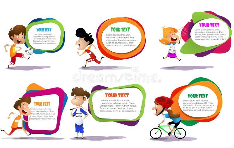 Lllustration das crianças que contratam em atividades diferentes dos esportes ilustração royalty free