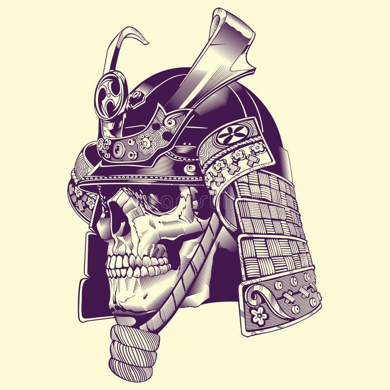 Lllustration del guerrero del samurai del cráneo stock de ilustración