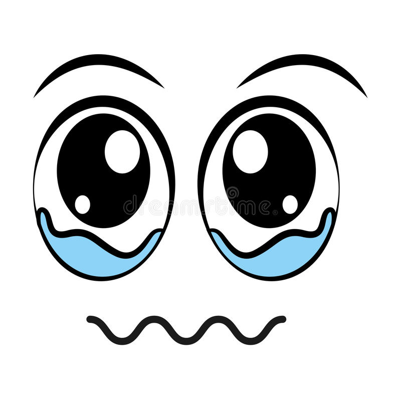 llorando, diseño aislado emoticon del icono de la cara ilustración del vector