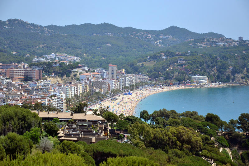 Lloret de Mar dans la côte Brava, Catalogne, Espagne images libres de droits