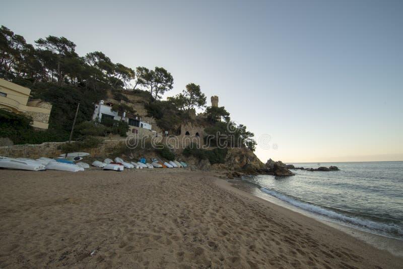 Lloret De Mar przy wsch?d s?o?ca na Costa Brava zdjęcia stock