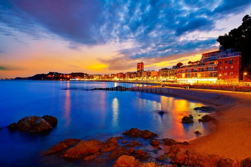Lloret de Mar solnedgång på Costa Brava Catalonia royaltyfria foton