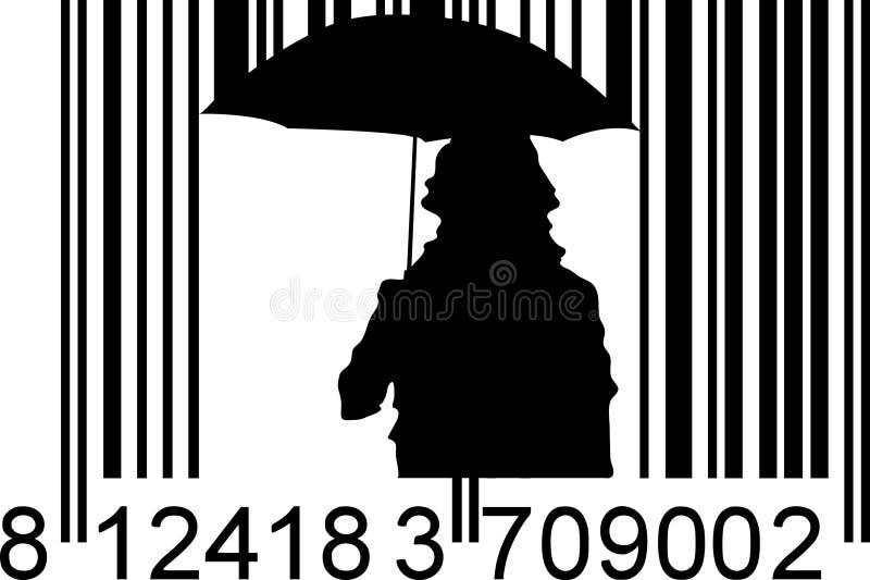 Llover el código de barras ilustración del vector