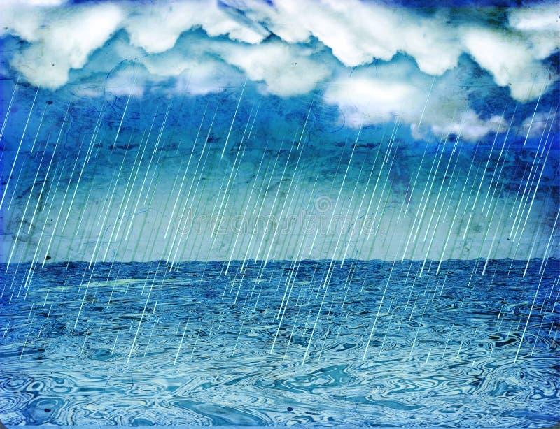 Llover la tormenta en el mar. Vendimia foto de archivo