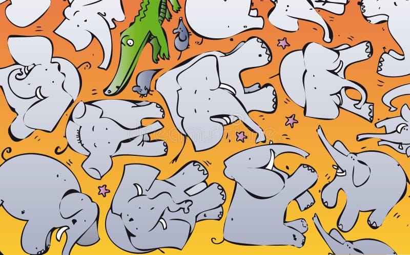 Llover los elefantes etc ilustración del vector