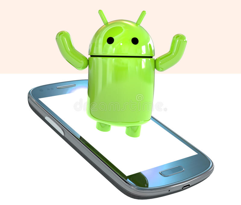 Google Android OS logo mascot robot emerging from a smartphone isolated on white background. Green robot Lloyd from Android OS logo emerging from a glossy blue royalty free illustration