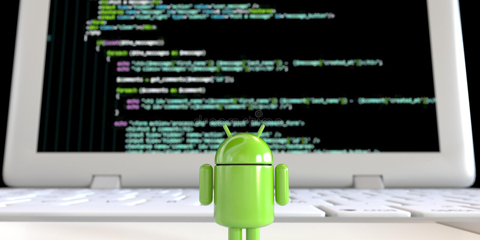 Google Android OS logo mascot standing alone facing computer screen with code. Green robot Lloyd from Android OS logo standing alone and facing black computer stock illustration