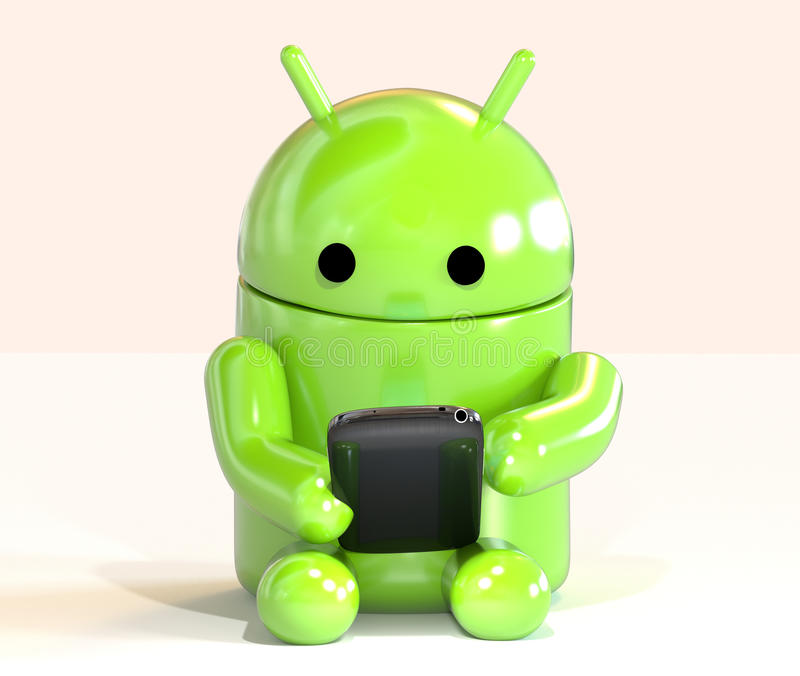 Google Android OS mascot robot using smartphone isolated on white background vector illustration